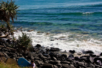 Burleigh Heads - there is a lone surfer out there somewhere - another one scrambling up the rocks.  I love the surf and in the past spent a lot of time on the beach around the corner from these rocks.