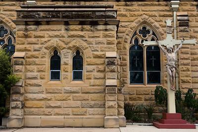 Close up of sandstone - St Mary's Catholic Church at Warwick.