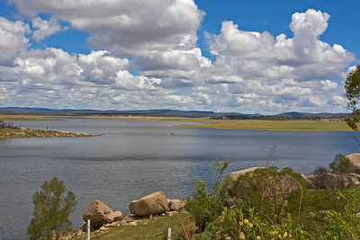 Leslie Dam at Warwick, Queensland.  The dam was built in 1963 - 1965 and given the name Leslie Dam in honour of Patrick Leslie.  Leslie was one of the first settlers to arrive in the Darling Downs. He was given permission in 1847 to select a site for a township which was named Warwick.