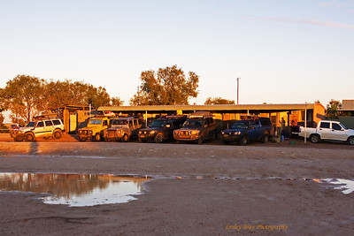 The Morning After - travellers parked at the motel facilities of Mungerannie Hotel in South Australia on the Birdsville Track.  Yesterday we got caught in a severe rain storm, the track quickly turned into a slippery muddy mess, the mud stuck in our tyre grooves like glue meaning we had no traction and slipped off the road at one stagel  It rained all night,  the road is closed until further notice and we are stuck at the Mungerannie Hotel in South Australia with approx 50 to 60 other travellers.  04 September 2010