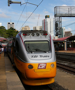 Tuesday 18 March 2008 - Tilt train at Brisbane's Roma Street Station.   The fastest narrow guage trains in the world, the Tilt Trains provide an efficient, comfortable and world-class standard of travel - so says Queensland Rail. This one runs from Brisbane up the Queensland coast to Rockhampton.