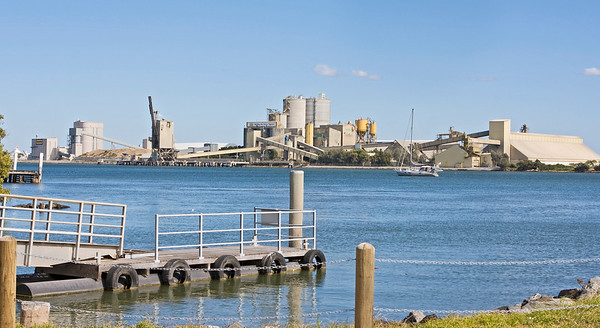 Looking across the Brisbane River towards refinery on Bulwer Island.