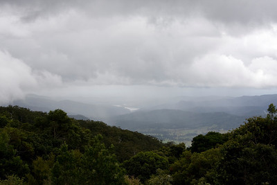 The rain is coming in over the Numinbah Valley.  The water is part of the Hinze Dam which services the Gold Coast region.
