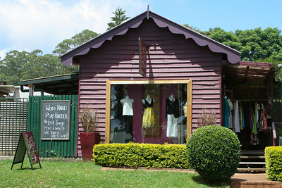 """The Last Tango"" - Dress shop at Tamborine Mountain Village - sign says ""Work Hard - Play Harder - the Last Tango - More of a way of life than a Dress Shop !!"""