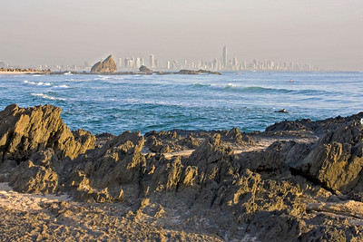 Sunrise at Currumbin - looking towards Currumbin Rock and Surfers Paradise in the far background.