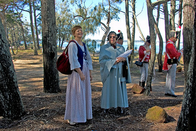 Monday 21 July 2008 - One more from yesterday - ladies in costume at Flinders Day celebrations on Coochiemudlo Island.  Unfortunately we could not stay to watch the reenactment - maybe next year. It was really difficult to take photos with the bright sun and the dark winter shadows.