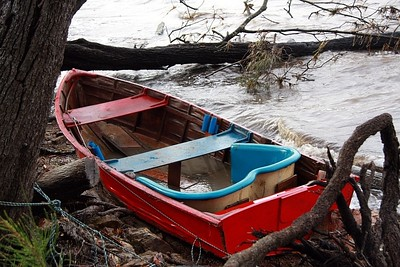 Red dinghy after the storm.