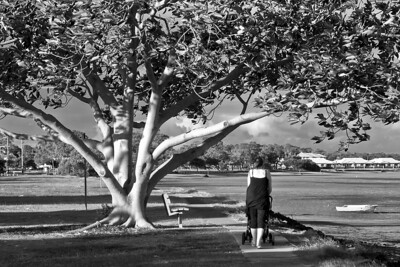 Lady walking her baby at Salford Park, Victoria Point - wonder who she is - used a infrared filter on this one