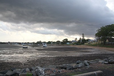 The bay at low tide - the storm passed over - no rain again.