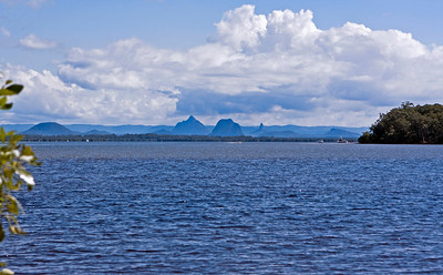 From Banksia Beach Park Reserve, looking across Pumicestone Passage towards Glasshouse Mountains. Taken at Bribie Island - June 2009