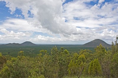 The Trachyte Range is on the very left - Mt Beerburrum the higher mountain to the rear of the range - on the right you can see one of  The Twins also known as Mount Tunbubudla  Taken from Glasshouse Mountains Lookout - February 2010