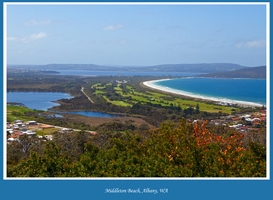 View from Mount Clarence in Albany, Western Australia overlooking Middleton Beach, Emu Point and Oyster Harbour with Lake Sepping on the left.  Photographed October 2011 - © Lesley Bray - All Rights Reserved.