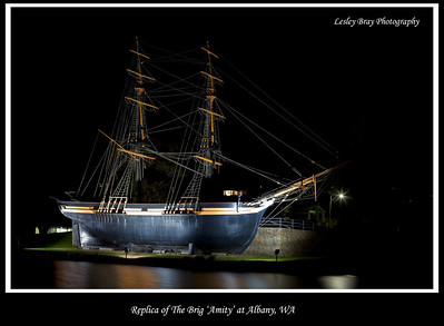 The replica brig Amity at Port Albany in Princess Royal Harbour, Albany, Western Australia.  Photographed October 2011 - © Lesley Bray - All Rights Reserved.