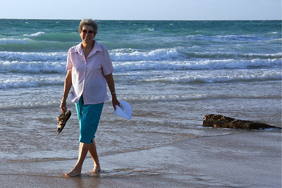 Mum dipping her toes into the Indian Ocean for the very first time - I think she's enjoying herself.