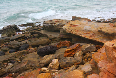 Looking down - Dinosaur footprints over 120 million years old can be seen at Gantheaume Point at very low tide.