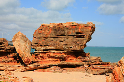 Giant rock formation on Port Beach.