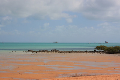 Ships waiting in Roebuck Bay to deliver at the Port of Broome.
