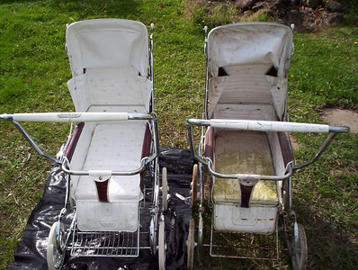 Two 1974 Steelcraft Regals in Claret. The pram on the left was in a similar state to the unrestored unit on the right