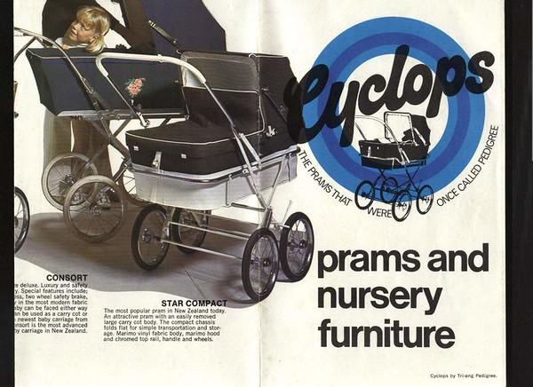 New Zealand release - vintage Cyclops pram brochure-
