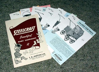 1955 vintage Steelcraft prams - folder and leaflets