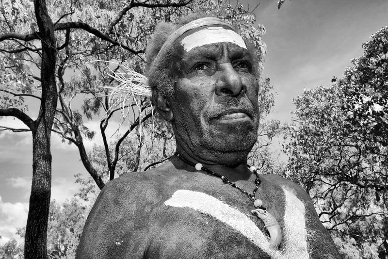 Portrait de Meun Lifu (injinoo) sur le site de Laura. Cap York/Queensland/Australie/