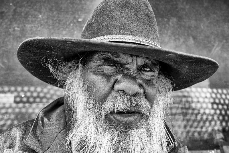 Portrait de Frankie Wongowol. Communauté aborigène de Wiluna/Australie Occidentale/Australie
