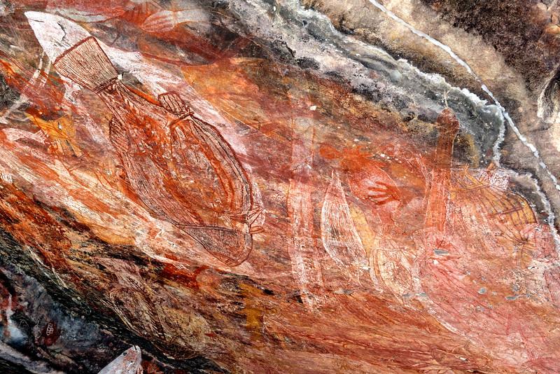 Peinture sur le site d'art rupestre d'Ubirr (limite de la terre d'Arnhem). Parc national de Kakadu/Territoire du Nord/Australie