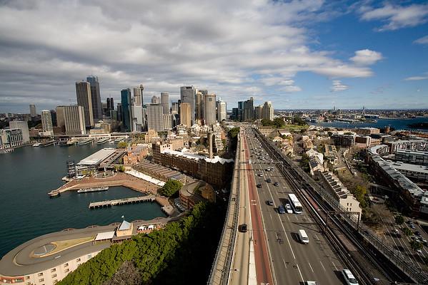 Panoramablick auf den Hafen von Sydney