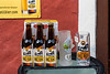 A street beer display in Hallstatt, Austria, Europe.