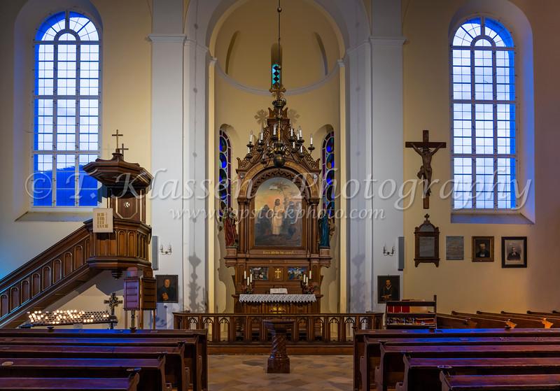 Interior of the Lutheran Church in Hallstatt, Austria, Europe.