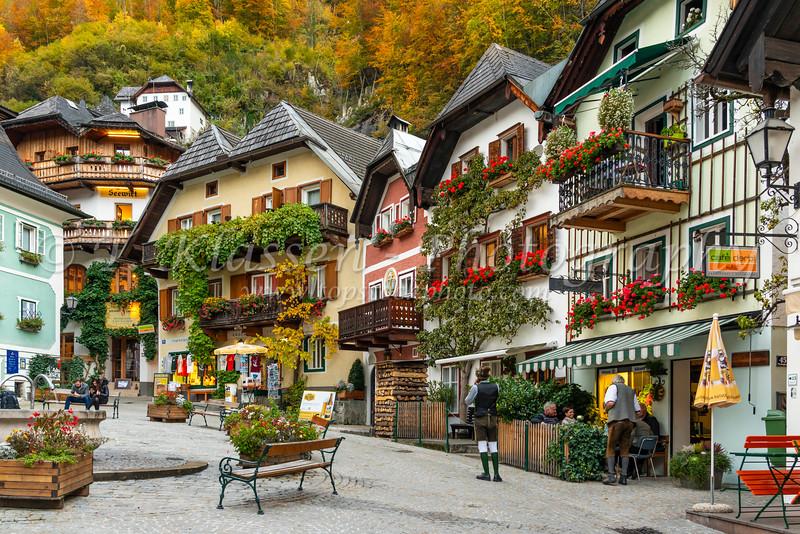 The Central Square Marktplatz in autumn in Hallstatt, Austria, Europe.
