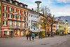 The colorful buildings and streets of historic old town in Lienz, Austria, Europe.