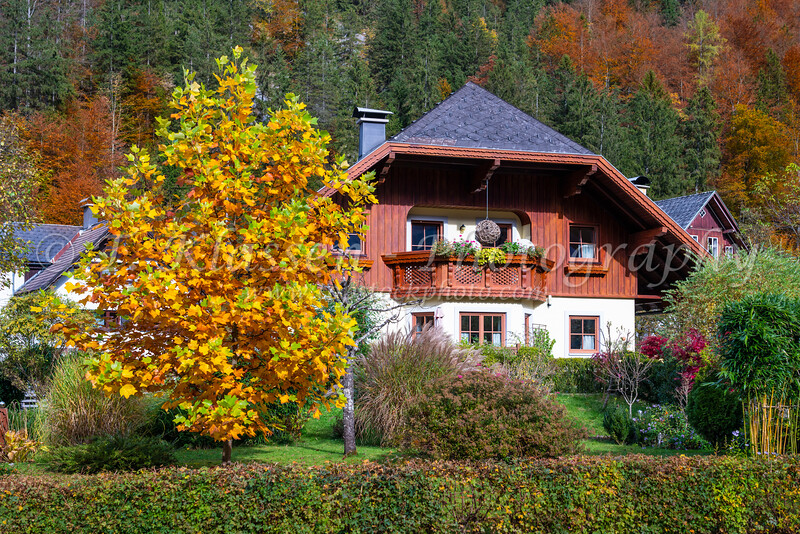 A cottage with fall foliage color near Bad Ausssee, Austria, Europe.