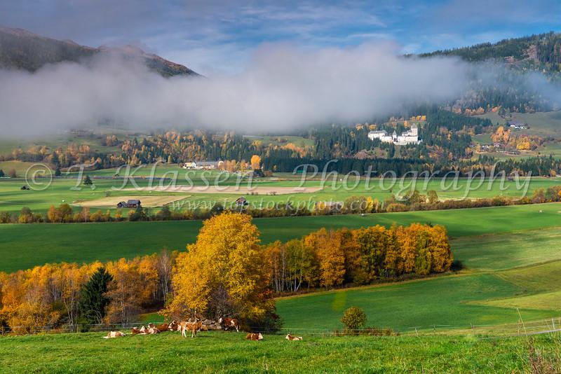 The Moosham Castle with fall foliage color near Unternberg in the Lungau region of Salzburg, Austria, Europe.