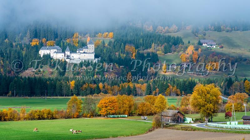 The Moosham Castle with fall foliage color in Austria, Europe.