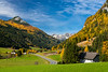 Valley scene with fall foliage color near the village of Tweng, Austria, Europe.