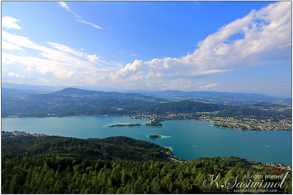 View from the Pyramidenkogel Tower in Carinthia, Austria