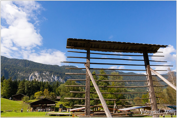 A drying rack to dry hay, huge agricultural tool from East Tyrol