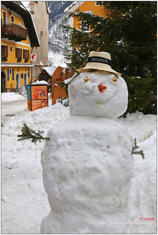 A snowman with nipples