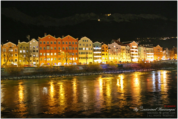 The Inn river at night