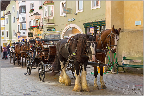 Horse drawn carriage in Kitzbühel, Austria