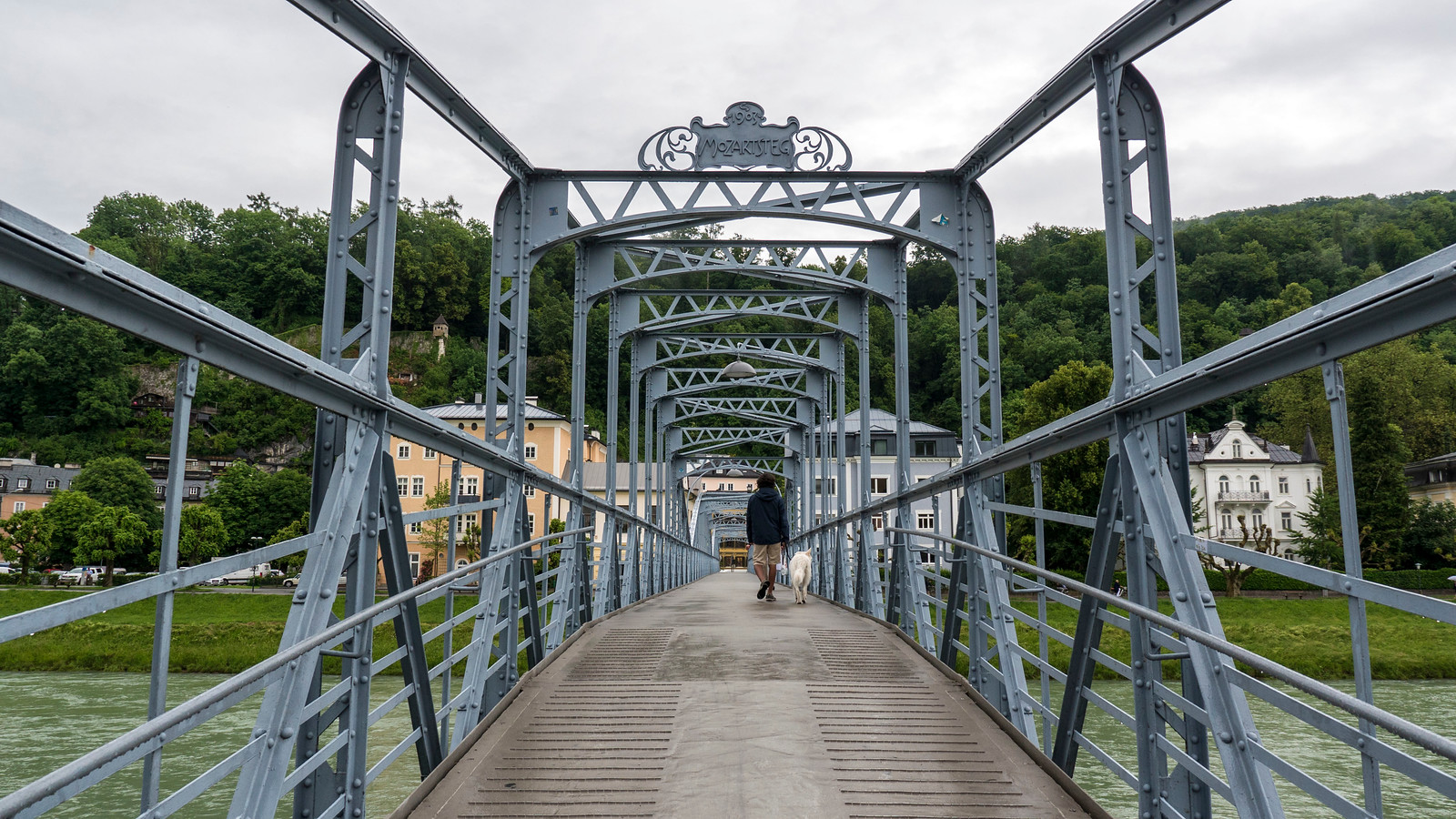 Mozartsteg, an Art Nouveau pedestrian bridge in Salzburg