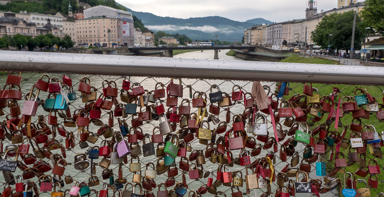 Makartsteg pedestrian bridge with love locks in Salzburg - What to do in Salzburg