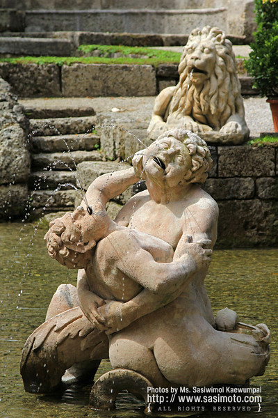 The Altemps Fountain, Waterfall and sculptures at Schloss Hellbrunn