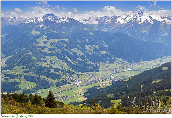 View of Zillertal, summer scene with snow