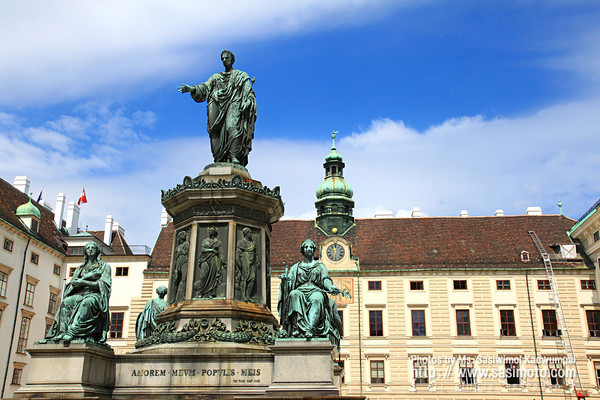 Statue of Francis II, Holy Roman Emperor in the Hofburg courtyard square