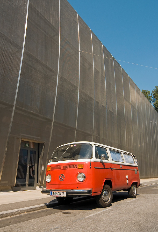 Red VW T2 Van outside MUMUTH Building, Graz