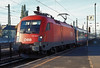 OBB 1116.009 pulls into Gyor with an Inter City express in the early morning of 11 November 2006