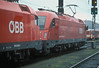 OBB 1016.036 and 1216.008 run through Salzburg Hbf. as a light engine working on 12 November 2006 - the two cab doors on the Class 1216 to comply with some countries regulations against the home bases version's single door on each bodyside should be noted