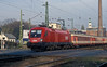 OBB 1116-010 still has traces of the original large numbering livery on the front as it leaves Gyor with a passenger service of Austrian stock from Tatabanya on 8 November 2006